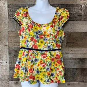 Anthropologie Odillle Floral Peplum Yellow Blue